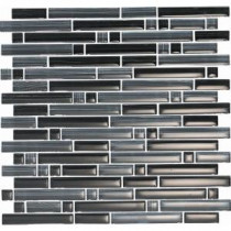 Brushstrokes Nero-1501-S Strips Mosaic Glass 12 in. x 12 in. Mesh Mounted Tile (5 sq. ft. / case)