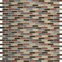 Fashion Accents Copper Blend 12 in. x 12 in. Glass and Stone Brix Blend Mosaic Wall Tile