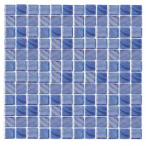 Irridecentz I-Blue-1414 Mosaic Recycled Glass 12 in. x 12 in. Mesh Mounted Tile (5 sq. ft. / case)