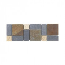 Charcoal 4 in. x 12 in. x 8 mm Slate Wall Accent Trim Tile