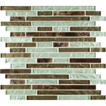 Celestine Blend Interlocking 12 in. x 12 in. x 8 mm Glass Stone Mesh-Mounted Mosaic Tile