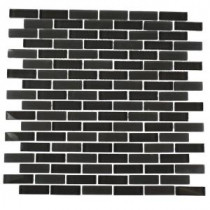 Contempo Smoke Gray Brick Glass 12 in. x 12 in. x 8 mm Floor and Wall Tile