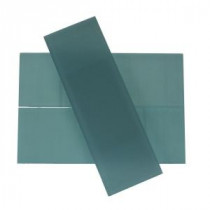 Contempo 4 in. x 12 in. x 8 mm Blue Gray Frosted Glass Mosaic Floor and Wall Tile