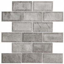 Tundra Grey 2 x 4 Beveled 12 in. x 12 in. x 10 mm Marble Mosaic Wall Tile