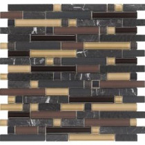 Varietals Pinot Noir-1655 Stone And Glass Blend 12 in. x 12 in. Mesh Mounted Floor & Wall Tile (5 sq. ft. / case)