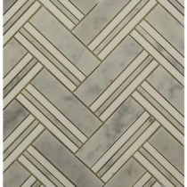 Boost Selection White Carrera with Thassos Line 11-1/4 in. x 12 in. x 10 mm Marble Mosaic Tile