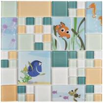 Finding Nemo Aqua 11-3/4 in. x 11-3/4 in. x 5 mm Glass Mosaic Tile
