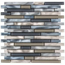 Out to Sea 12.5 in. x 12 in. x 8 mm Glass/Metal Mosaic Wall Tile