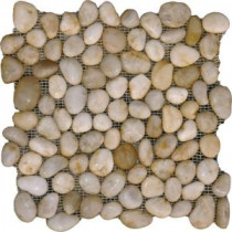 White Pebbles 12 in. x 12 in. x 10 mm Polished Marble Mesh-Mounted Mosaic Tile (10 sq. ft. / case)