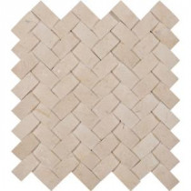 Crema Arched Herringbone 12 in. x 12 in. x 10 mm Polished Marble Mesh-Mounted Mosaic Tile (10 sq. ft. / case)