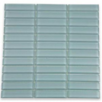 Contempo Blue Gray 12 in. x 12 in. x 8 mm Polished Glass Mosaic Floor and Wall Tile