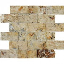 Scabas 12 in. x 12 in. x 13 mm Splitface Travertine Mesh-Mounted Mosaic Tile (4 sq. ft. / case)