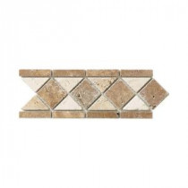 Tumbled Noce Listello 4 in. x 12 in. Travertine Accent Strip