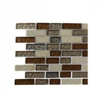 Suede Shoe Brick Pattern Marble and Glass Floor and Wall Tile - 6 in. x 6 in. Tile Sample