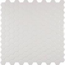 Whisper White Hexagon 12 in. x 12 in. x 8 mm Ceramic Mesh-Mounted Mosaic Tile (10 sq. ft. / case)