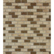 Noce/Chiaro Mini Brick 12 in. x 12 in. x 10 mm Honed Travertine Mesh-Mounted Mosaic Tile