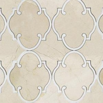 Steppe Casablanca Crema Marfil and Thassos Marble Waterjet Mosaic Floor/Wall Tile - 3 in. x 6 in. Tile Sample