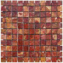 Red 12 in. x 12 in. x 10 mm Polished Onyx Mesh-Mounted Mosaic Tile (10 sq. ft. / case)