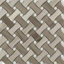 Pedigree Cremini 11-1/2 in. x 11-1/4 in. x 10 mm Polished Marble Mosaic Tile