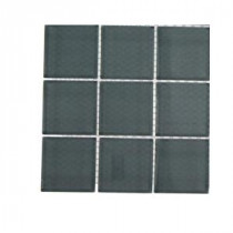 Contempo Blue Gray Polished Glass Tile - 3 in. x 6 in. x 8 mm Tile Sample