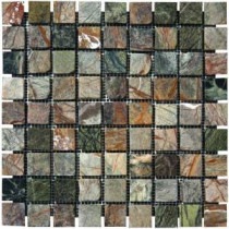 Verde Amazonia 12 in. x 12 in. x 10 mm Tumbled Marble Mesh-Mounted Mosaic Tile (10 sq. ft. / case)