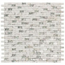 Vision Mini Brick 11.75 in. x 12 in. x 8 mm Glass/White Marble Mosaic Wall Tile