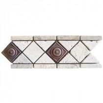 Noche/Chiaro Copper Scudo 4 in. x 12 in. Travertine/Metal Listello Floor and Wall Tile