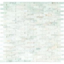Greecian White Splitface 12 in. x 12 in. Marble Mesh-Mounted Mosaic Wall Tile
