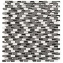 Paradox Mix Silver Mini Brick 11-1/4 in. x 12-1/4 in. x 8 mm Glass Mosaic Tile