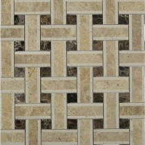 Yarn Woven Wood 12-1/2 in. x 12-1/2 in. x 10 mm Polished Marble Mosaic Tile