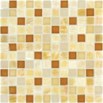 Honey Onyx Caramel 12 in. x 12 in. x 8 mm Glass Stone Mesh-Mounted Mosaic Tile