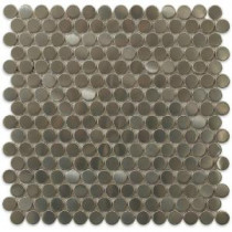 Silver Penny Round 12 in. x 12 in. x 8 mm Stainless Steel Metal Mosaic Floor and Wall Tiles