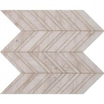 White Quarry Chevron 12 in. x 12 in. x 10 mm Natural Marble Mesh-Mounted Mosaic Tile (10 sq. ft. / case)