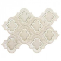 Chelsea Super White and Asian Statuary Line 8-1/2 in. x 11.87 in. x 8 mm Polished & Frosted Marble Waterjet Mosaic Tile