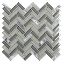 Chamber Cliff Sterling Cloud 12 in. x 12 in. x 8 mm Glass and Stone Blend Mosaic Tile