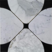 Steppe Flower Black and Statuario 12 in. x 12 in. x 10 mm Polished Marble Waterjet Mosaic Tile