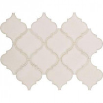 Antique White Arabesque 10-1/2 in. x 15-1/2 in. x 8 mm Glazed Ceramic Mesh-Mounted Mosaic Wall Tile (11.3 sq.ft./case)