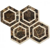 Zeta Crema Marfil and Dark Emperador 10-3/4 in. x 12-1/4 in. x 10 mm Polished Marble Mosaic Tile