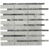 Elder White Carrera and Dark Brdiglio Line 12 in. x 12 in. x 10 mm Polished Marble Mosaic Tile