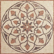 Travertine La Flora 48 in. x 48 in. Tumbled Stone Medallion Decorative Floor and Wall Tile