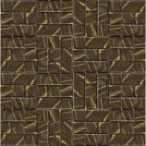 Metalz Bronze-1012 Mosiac Recycled Glass Mesh Mounted Tile - 3 in. x 3 in. Tile Sample