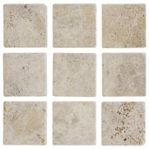 4 in. x 4 in. Light Travertine Tumbled Wall Tile (9-Pack)