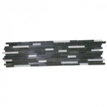 Chorus Basalt 6 in. x 24 in. x 8 mm Polished and Frosted Marble and Glass Mosaic Tile