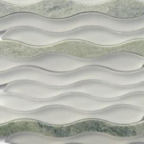 Flow Viper 11-1/2 in. x 12 in. x 8 mm Glass and Marble Mosaic Tile