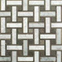 Yarn London Fog 12-1/2 in. x 12-1/2 in. x 10 mm Polished Marble Mosaic Tile