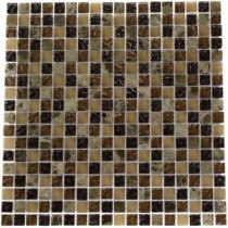 Brown Blend 12 in. x 12 in. x 8 mm Marble and Glass Mosaic Floor and Wall Tile