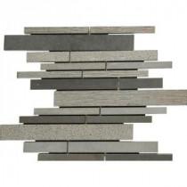 Mystic Grey Interlocking 12 in. x 12 in. x 10 mm Basalt Mesh-Mounted Mosaic Tile