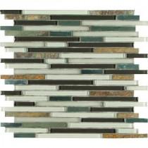 Windsor Canyon Interlocking 12 in. x 12 in. x 8 mm Glass Metal Stone Mesh-Mounted Mosaic Tile
