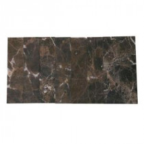 Brushed Dark Emperador 2 in. x 8 in. x 8 mm Marble Mosaic Tile
