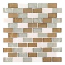 Bellagio Pebble Brown/Tan Brick 12 in. x 12 in. x 8 mm Glass Marble Mesh-Mounted Mosaic Wall Tile